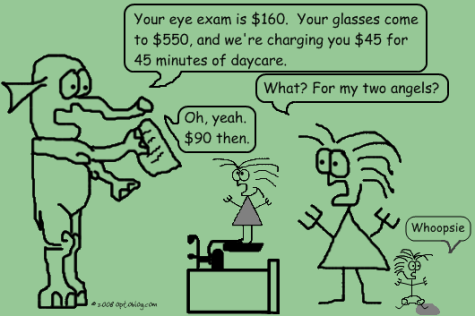 Kids run AMOK as parent has eye exam.