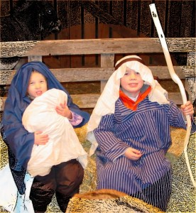 Dallin and Emma as Mary and Joseph with Baby Jesus