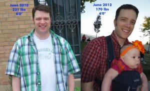 "Dr. David Langford before-after 50 weight loss (6'0""- 221 to 170)"